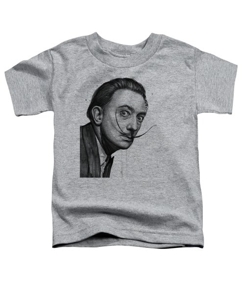 Salvador Dali Portrait Black And White Watercolor Toddler T-Shirt