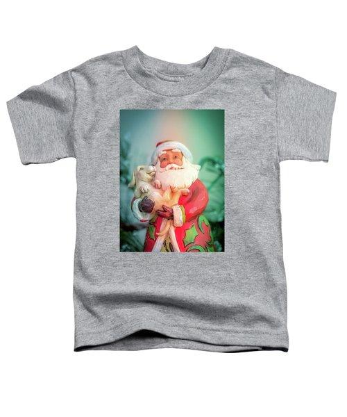 Santa And Lab Pup Toddler T-Shirt