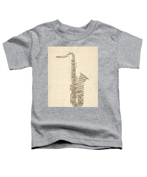 Saxophone Old Sheet Music Toddler T-Shirt