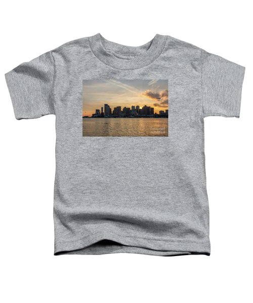Seagull Flying At Sunset With The Skyline Of Boston On The Backg Toddler T-Shirt