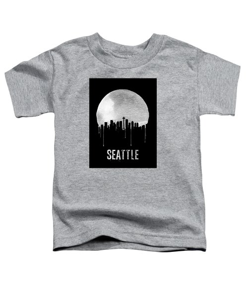 Seattle Skyline Black Toddler T-Shirt by Naxart Studio