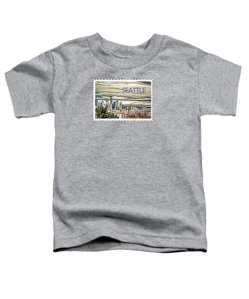 Seattle Skyline In Fog And Rain Text Seattle Toddler T-Shirt by Elaine Plesser