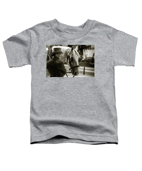 Sepia Carriage Horse With Handler Toddler T-Shirt