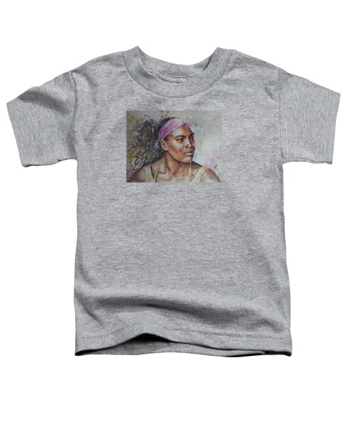 Serena Williams - Portrait 6 Toddler T-Shirt by Baresh Kebar - Kibar
