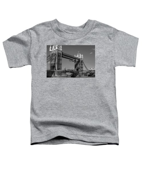 Toddler T-Shirt featuring the photograph Seven Seconds - The Tower Bridge Hawker Hunter Incident Bw Versio by Gary Eason
