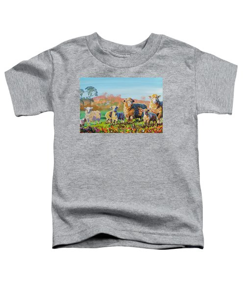 Sheep And Lambs In Devon Landscape Bright Colors Toddler T-Shirt