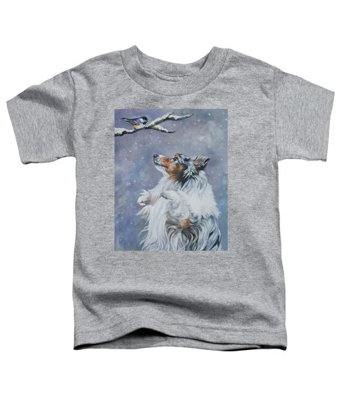 Shetland Sheepdog With Chickadee Toddler T-Shirt