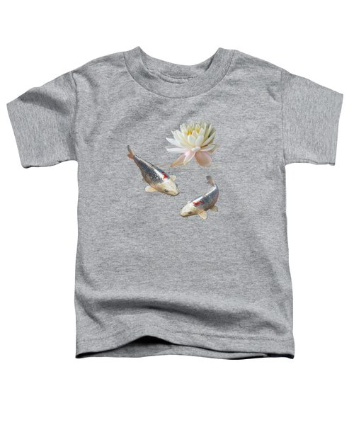 Silver And Red Koi With Water Lily Toddler T-Shirt by Gill Billington