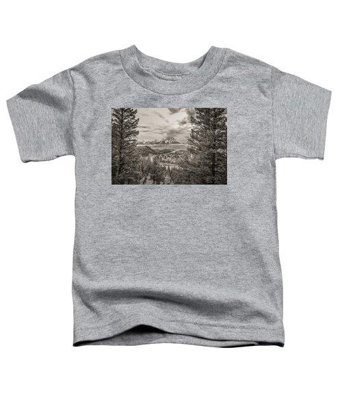 Snake River Overlook Grand Teton Monochromatic Toddler T-Shirt