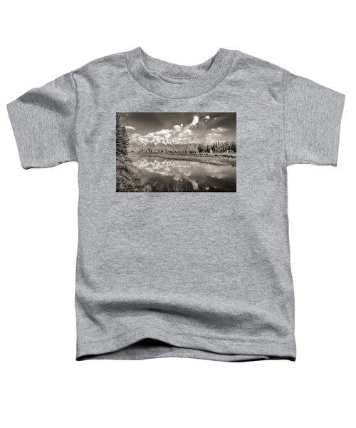 Snake River Reflection Grand Teton Monochromatic Toddler T-Shirt