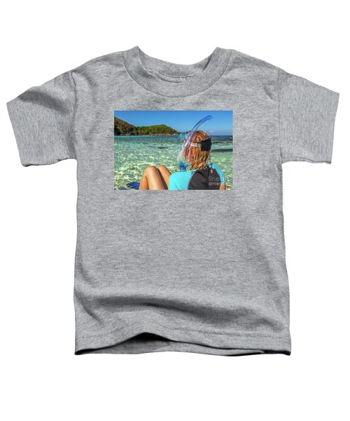 Snorkeler Relaxing On Tropical Beach Toddler T-Shirt
