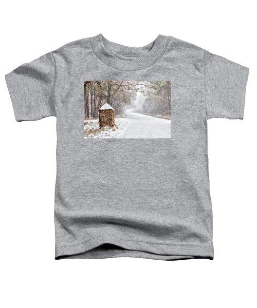 Snow Covered Brick Pillar Toddler T-Shirt