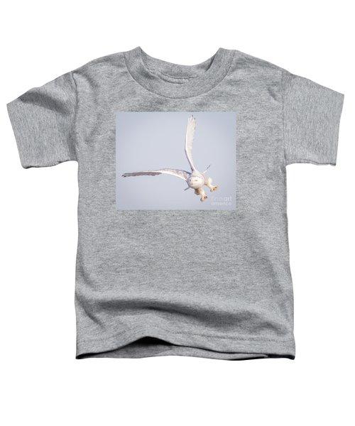 Snowy Owl Flying Dirty Toddler T-Shirt by Ricky L Jones