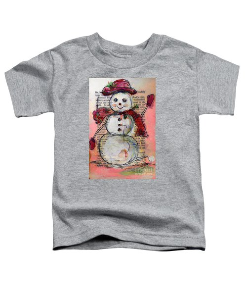 Snowman With Red Hat And Mistletoe Toddler T-Shirt