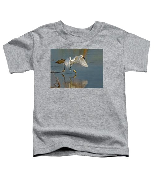 Snowy Egret On The Move Toddler T-Shirt