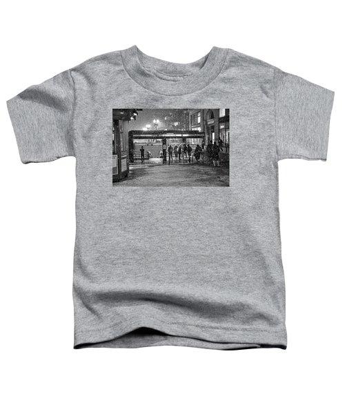 Snowy Harvard Square Night- Harvard T Station Black And White Toddler T-Shirt