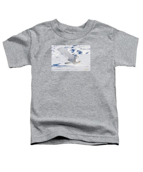 Toddler T-Shirt featuring the photograph Snowy Owl Pouncing by Rikk Flohr