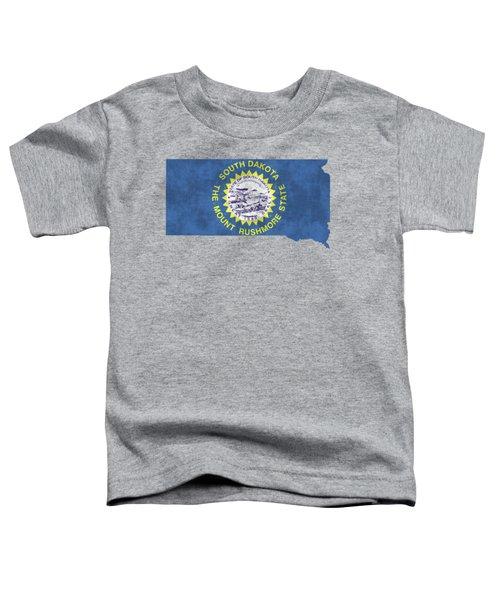 South Dakota Map Art With Flag Design Toddler T-Shirt