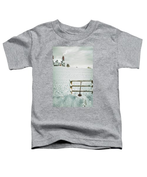 Spade Leaning Against Fence In The Snow Toddler T-Shirt