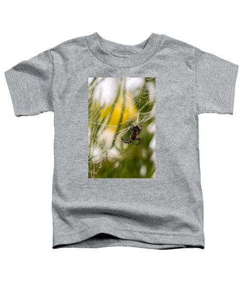 Spider And Spider Web With Dew Drops 04 Toddler T-Shirt