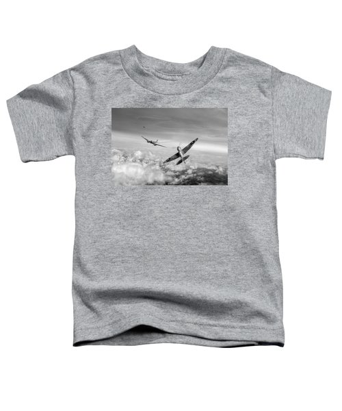 Toddler T-Shirt featuring the photograph Spitfire Attacking Heinkel Bomber Black And White Version by Gary Eason