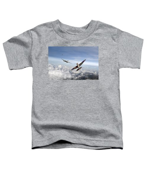 Spitfire Attacking Heinkel Bomber Toddler T-Shirt by Gary Eason