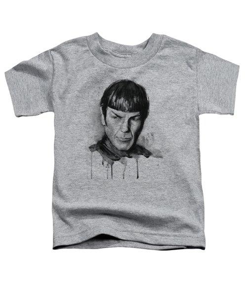 Spock Portrait Watercolor Star Trek Fan Art Toddler T-Shirt by Olga Shvartsur