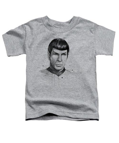 Spock Watercolor Portrait Toddler T-Shirt by Olga Shvartsur
