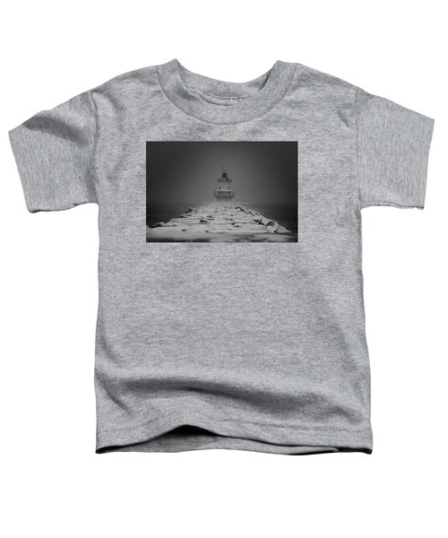Spring Point Ledge Lighthouse Blizzard In Black N White Toddler T-Shirt