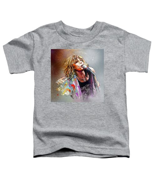 Steven Tyler 02  Aerosmith Toddler T-Shirt by Miki De Goodaboom