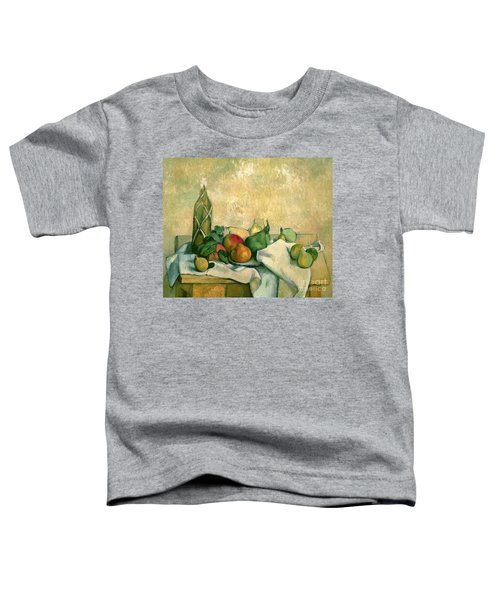 Still Life With Bottle Of Liqueur Toddler T-Shirt by Paul Cezanne