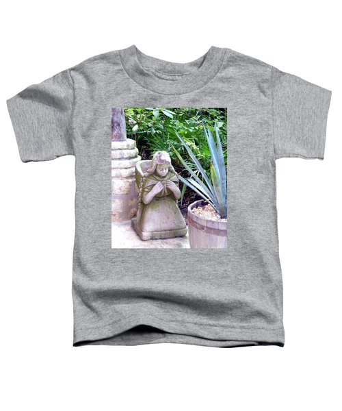 Toddler T-Shirt featuring the photograph Stone Girl With Basket And Plants by Francesca Mackenney