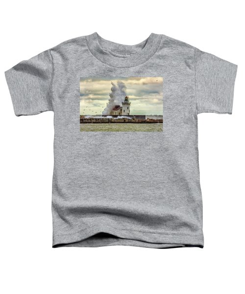 Storm Waves At The Cleveland Lighthouse Toddler T-Shirt