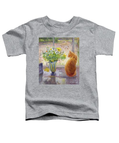 Striped Jug With Spring Flowers Toddler T-Shirt by Timothy Easton