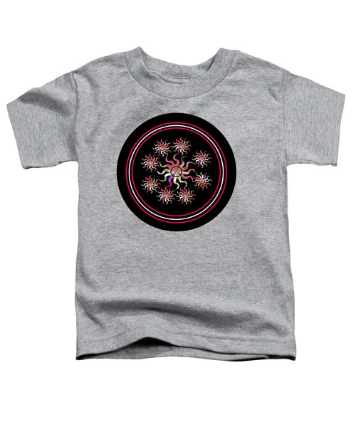 Striped Sunbursts In The Round In Black And Grey Toddler T-Shirt