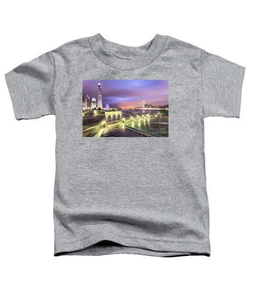 Stunning Night View Of The Famous Hong Kong Island Skyline And V Toddler T-Shirt