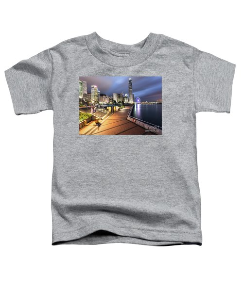 Stunning View Of Hong Kong Central Business District Skyscrapers Toddler T-Shirt