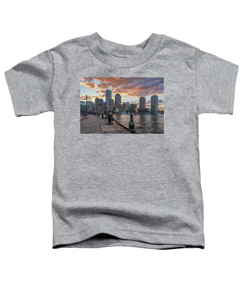 Summer Sunset At Boston's Fan Pier Toddler T-Shirt