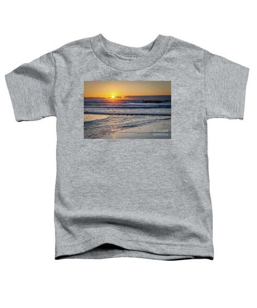 Sun Behind Clouds With Beach And Waves In The Foreground Toddler T-Shirt