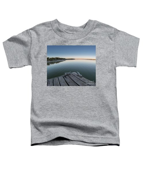 Sunrise On A Clear Morning Over Large Lake With Fog On Top, From Toddler T-Shirt