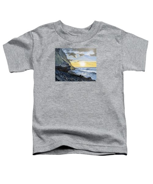 Toddler T-Shirt featuring the painting Sunset At Warren Point Duckpool by Lawrence Dyer