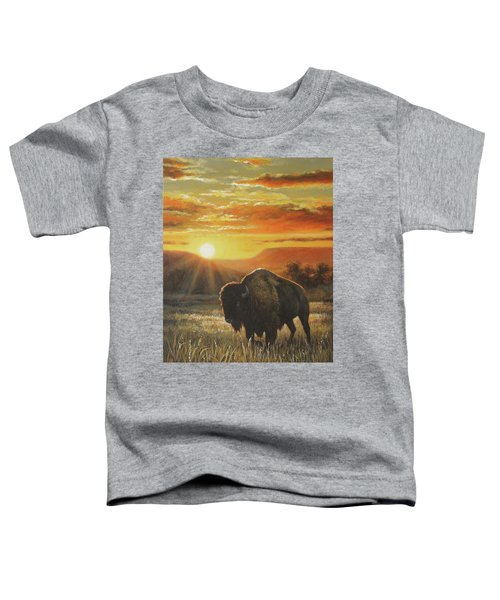 Sunset In Bison Country Toddler T-Shirt