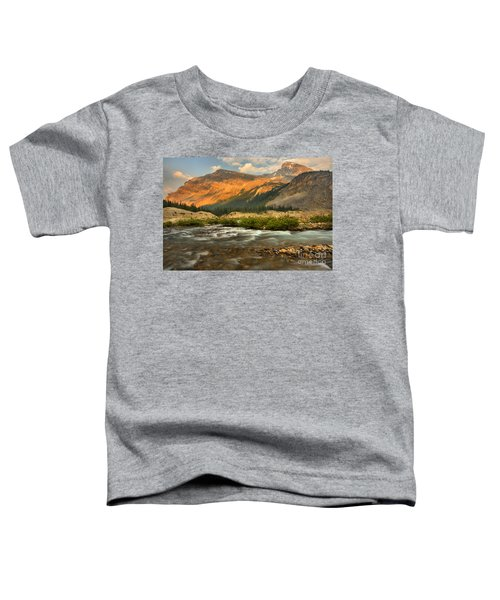 Sunset Over Bow Glacier Stream Toddler T-Shirt