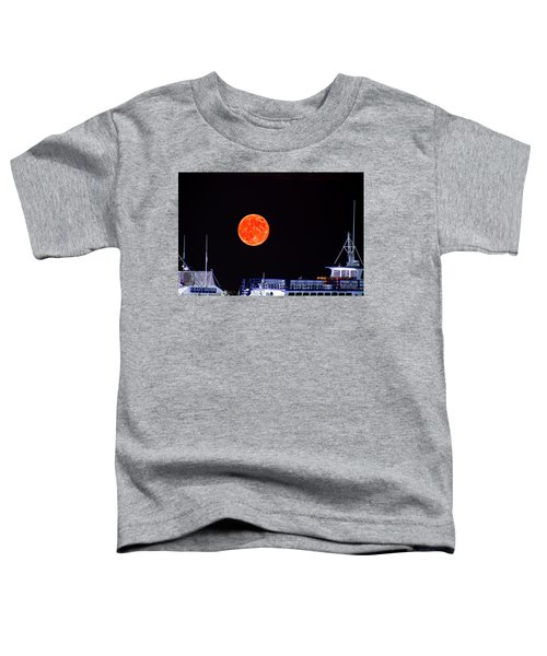 Toddler T-Shirt featuring the photograph Super Moon Over Crazy Sister Marina by Bill Barber