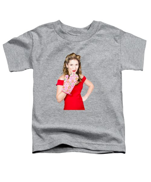 Surprise Cooking Pinup Woman With Cook Mitt Toddler T-Shirt by Jorgo Photography - Wall Art Gallery