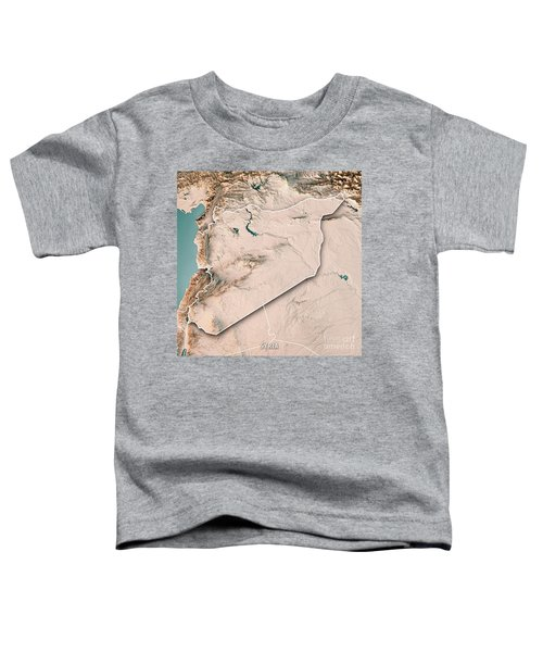 Syria Country 3d Render Topographic Map Neutral Border Toddler T-Shirt