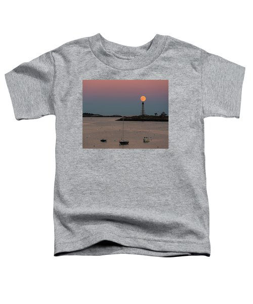 The 2016 Supermoon Balancing On The Marblehead Light Tower In Marblehead Ma Toddler T-Shirt