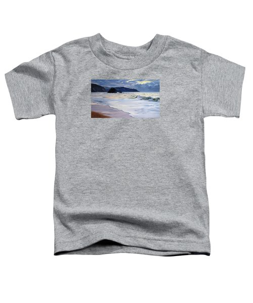 Toddler T-Shirt featuring the painting The Black Rock Widemouth Bay by Lawrence Dyer