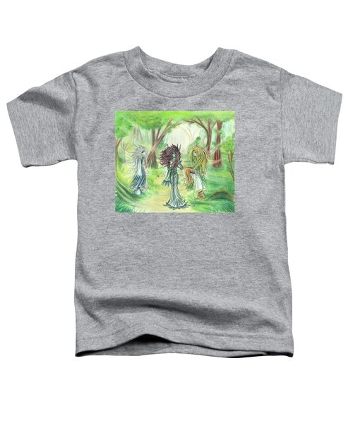Toddler T-Shirt featuring the painting The Fae - Sylvan Creatures Of The Forest by Shawn Dall