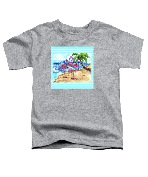 The Flamingo Family's Day At The Beach Toddler T-Shirt